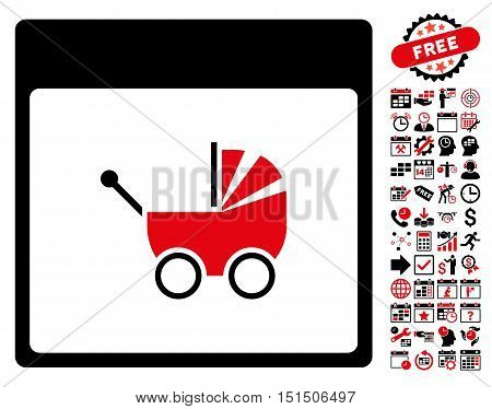Baby Carriage Calendar Page icon with bonus calendar and time management pictograms. Vector illustration style is flat iconic symbols, intensive red and black, white background.