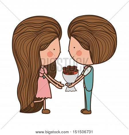 couple holding bouquet with striped hair vector illustration