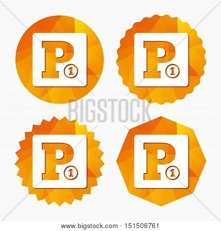 Paid parking sign icon. Car parking symbol. Triangular low poly buttons with flat icon. Vector