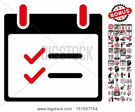 Check Items Calendar Day pictograph with bonus calendar and time management pictograph collection. Vector illustration style is flat iconic symbols, intensive red and black, white background.
