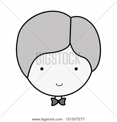 silhouette face groom with bowtie vector illustration