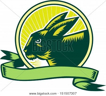 Illustration of a bunny head viewed from the side set inside circle and ribbon with sunburst in the background done in retro woodcut style.
