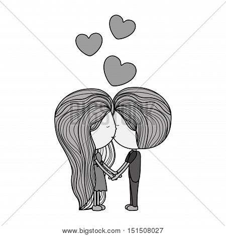 couple monochrome in love kissing with floating hearts vector illustration
