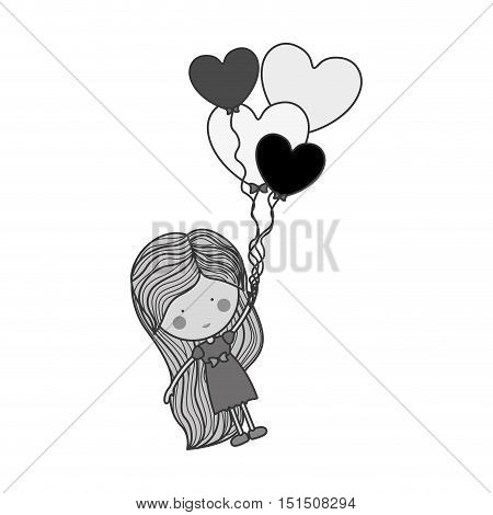 silhouette girl dragged by heart-shaped balloons vector illustration