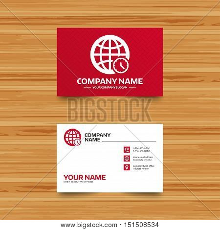 Business card template. World time sign icon. Universal time globe symbol. Phone, globe and pointer icons. Visiting card design. Vector