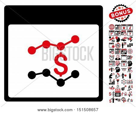 Financial Charts Calendar Page pictograph with bonus calendar and time management images. Vector illustration style is flat iconic symbols, intensive red and black, white background.