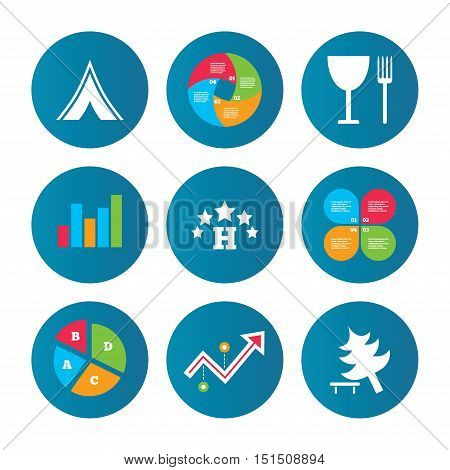 Business pie chart. Growth curve. Presentation buttons. Food, hotel, camping tent and tree icons. Wineglass and fork. Break down tree. Road signs. Data analysis. Vector