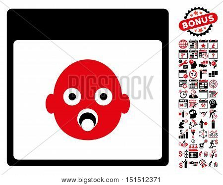 Newborn Head Calendar Page icon with bonus calendar and time management pictures. Vector illustration style is flat iconic symbols, intensive red and black, white background.