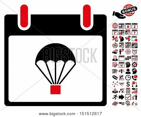 Parachute Calendar Day icon with bonus calendar and time management design elements. Vector illustration style is flat iconic symbols, intensive red and black, white background.