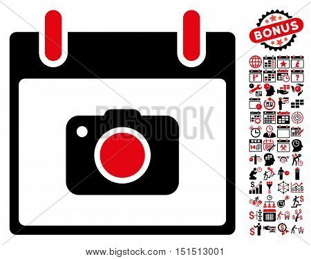 Photo Camera Calendar Day pictograph with bonus calendar and time management pictograph collection. Vector illustration style is flat iconic symbols, intensive red and black, white background.