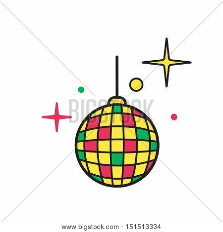Disco Ball symbol for download. Vector icon for video, mobile apps, Web sites and print projects.Shiny illuminated disco ball.