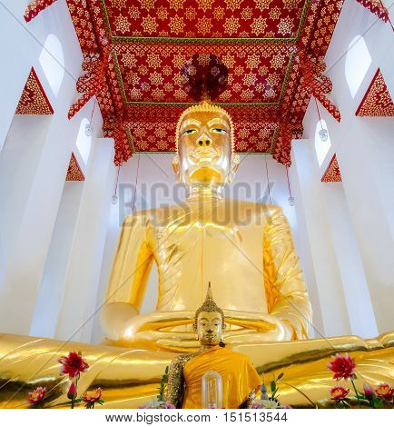 ANG THONG THAILAND - MAY 14: Big Buddha image also called Luang Phor To was created by Somdej Phra Phuthacharn in Wat Chaiyo Worawihan Temple on May 14 2016 in Ang Thong province Thailand.