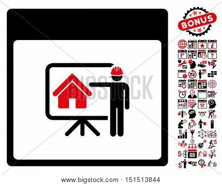 Realty Developer Calendar Page icon with bonus calendar and time management pictograph collection. Vector illustration style is flat iconic symbols, intensive red and black, white background.