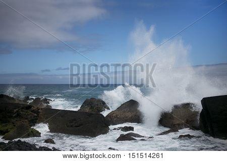 Biggest Waves of the Atlantic Ocean. Spain, Tenerife, Canary Islands.