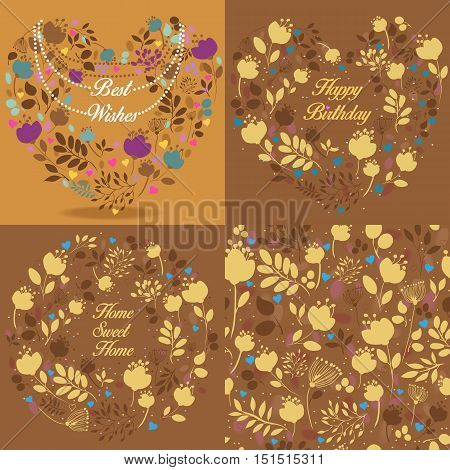 Brown floral patterns set. Graceful silhouettes of flowers and plants. Seamless pattern. Heart with necklace and text Best wishes. Rings with texts - Happy Birthday Home sweet home. Vintage cards