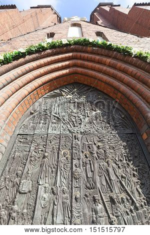 Bronze door of salvation history and important events in the history of Opole Cathedral Basilica of the Holy Cross Opole Poland