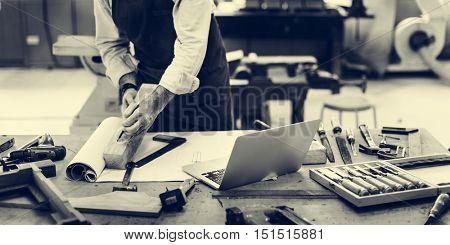 Carpenter Craftsman Handicraft Wooden Workshop Concept