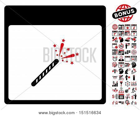 Sparkler Firecracker Calendar Page pictograph with bonus calendar and time management graphic icons. Vector illustration style is flat iconic symbols, intensive red and black, white background.