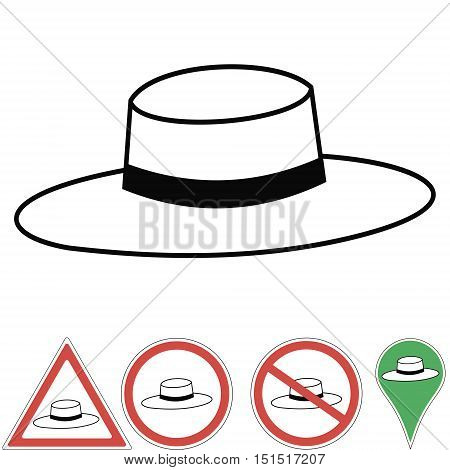 Vector illustration of a Rabbi hat and signs the hat pointer. Orthodox Jewish symbols hat Judaism, print or design