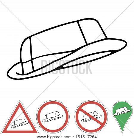 Outline drawing of safari hat. Traveling hat. Explorer hat