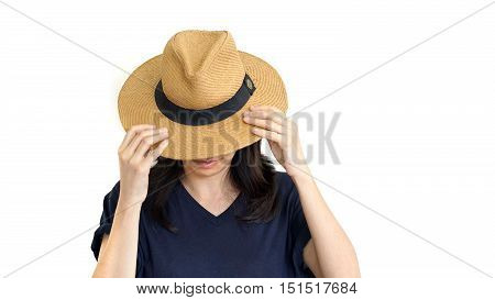 Casual South East Asian Girl Wearing Hat Hiding Face