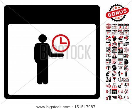 Time Manager Calendar Page icon with bonus calendar and time management pictures. Vector illustration style is flat iconic symbols, intensive red and black, white background.