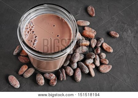 Chocolate Milk And Cocoa Beans