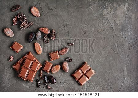 Pieces Of Chocolate Bar And Cocoa Beans