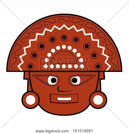 Illustration of an inca god totem close up vector