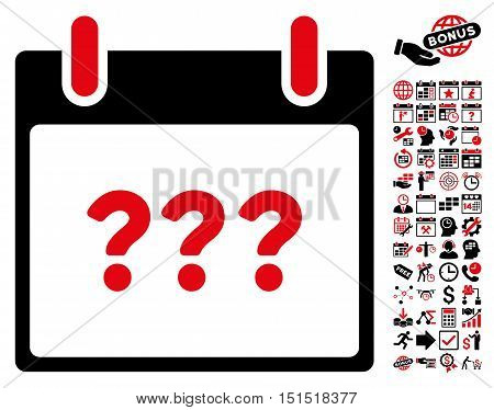 Unknown Day Calendar Page icon with bonus calendar and time management symbols. Vector illustration style is flat iconic symbols, intensive red and black, white background.