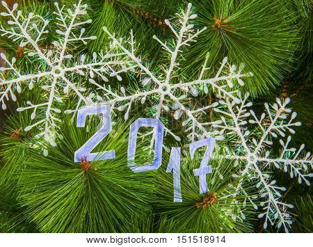 Sigh symbol Christmas Tree from texture background Empty copy space for inscription Idea of merry new year 2017 holiday