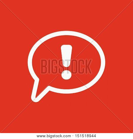 The exclamation mark icon. Attention speech bubble symbol. Flat Vector illustration