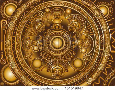 Vector ancietn circle bronze ornament frame Maya.