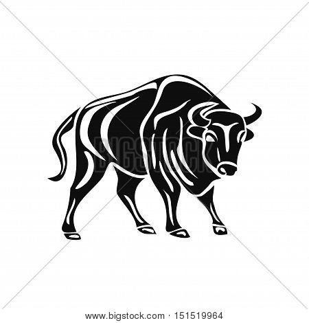black silhouette of bull on white background. Vector illustration. Tribal
