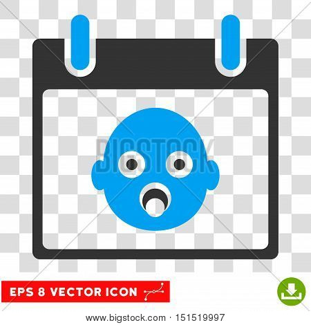 Vector Baby Head Calendar Day EPS vector pictogram. Illustration style is flat iconic bicolor blue and gray symbol on a transparent background.