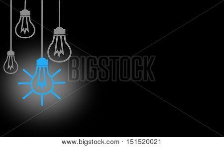 Bright Ideas, blackbord design, whit blue Light Bulb