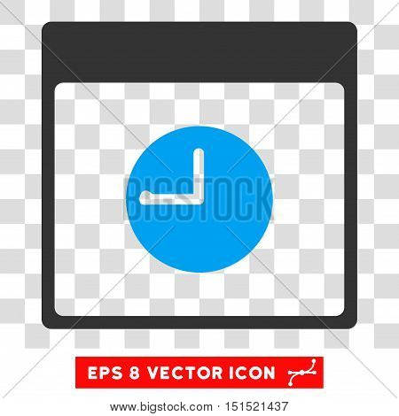 Vector Clock Calendar Page EPS vector pictograph. Illustration style is flat iconic bicolor blue and gray symbol on a transparent background.
