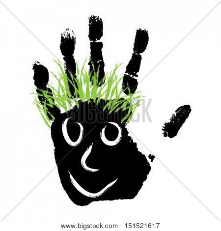 Vector conceptual cute paint human hand or handprint of child with happy face and green hair isolated on white background
