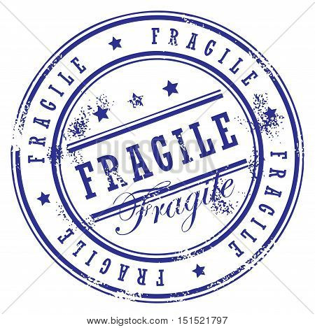 Grunge rubber stamp with small stars and the word Fragile inside, vector illustration
