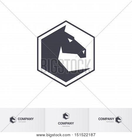 Stylized Dark Horse Head for Mascot Logo Template