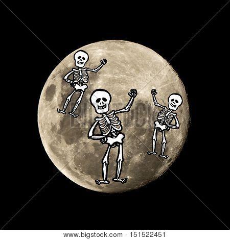 Hallowen Skeleton Flies In The Moon