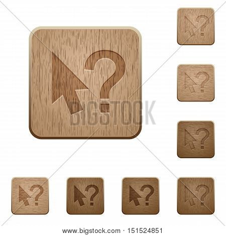 Set of carved wooden help cursor buttons in 8 variations.