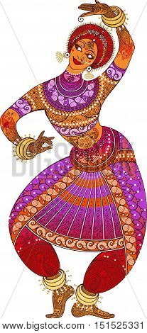 One indian woman dancer dancing in silhouette isolated on white background