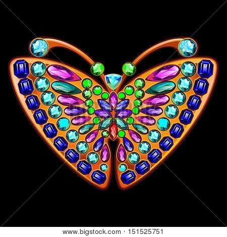 Precious brooch in the form of a butterfly with gems. Butterfly jewelry made of gold and precious stones.