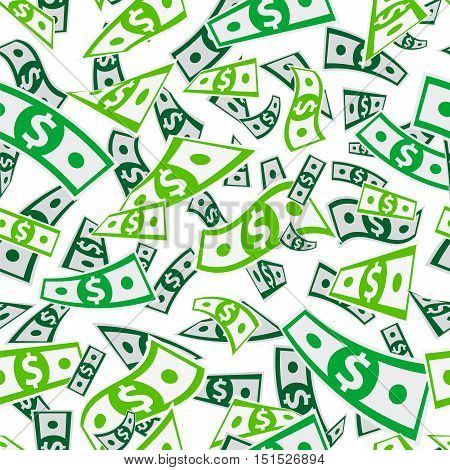 Seamless vector pattern of money on a white background. Flying dollars. Paper banknotes. Business concept.