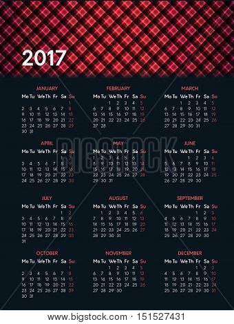 Vector calendar for 2017 year on dark background with shiny red pattern in header. Week starts on monday