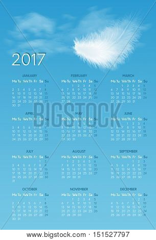 Vector calendar for 2017 year with background of blue sky with white flying fluffy feather. Week starts on monday