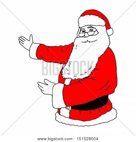 illustation vector hand drawn of Santa Claus presenting something isolated on white background