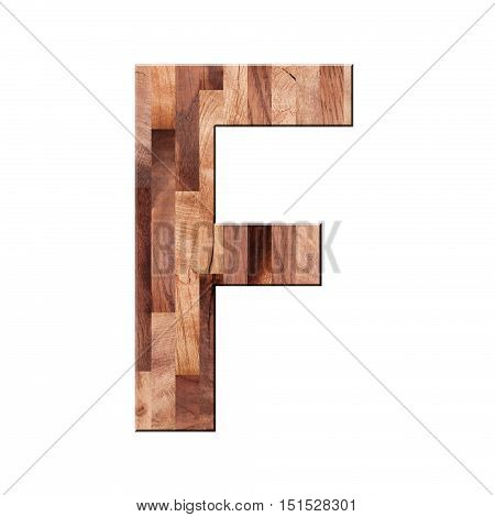Wooden Parquet Alphabet Letter Symbol - F. Isolated On White Background