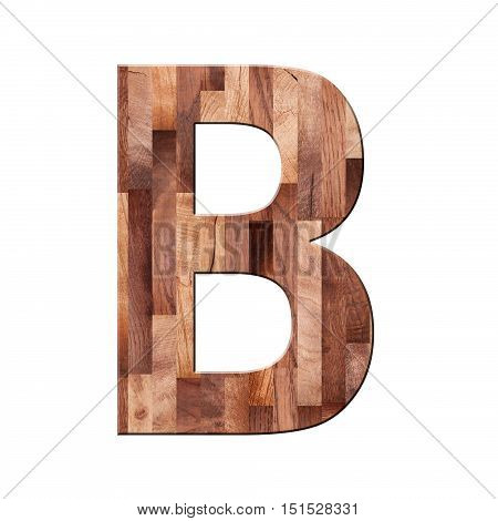 Wooden Parquet Alphabet Letter Symbol -b. Isolated On White Background